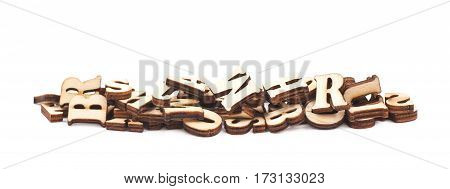 Line pile made of wood carved letters isolated over the white background