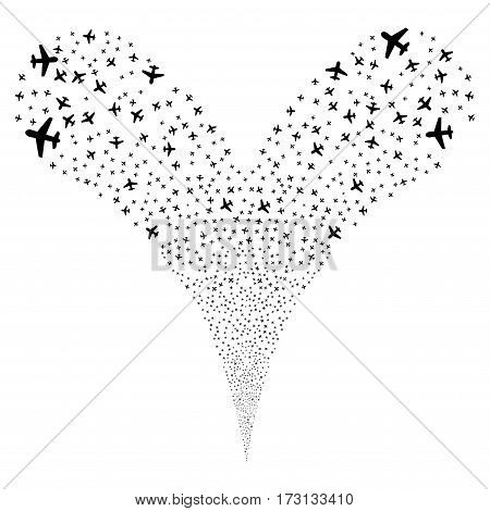 Airplane fireworks stream. Vector illustration style is flat black iconic symbols on a white background. Object double fountain constructed from random pictograms.