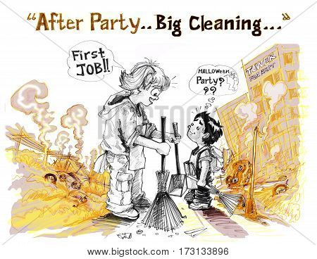 Girl say with young brother is first job in Concept after war but I want to convey a positive and creative uses for the After Party Big Cleaning an idea to go forward. The first step is beneficial to everyone In picture is children result of conflict poli