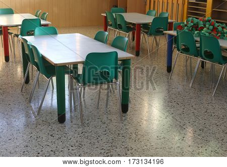 Inside The Classroom Of A School With Green Chairs And Small Tab