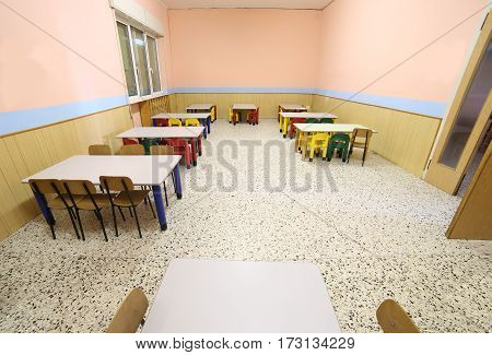 Refectory Of A School For Children With Small Chairs And Tables