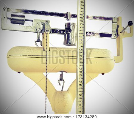 Old Scale To Measure The Weight And Height During The Medical Ex
