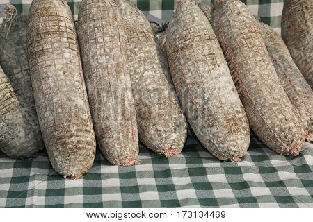 Aged Salami Produced With Pork Called Sopressa In Italian Langua