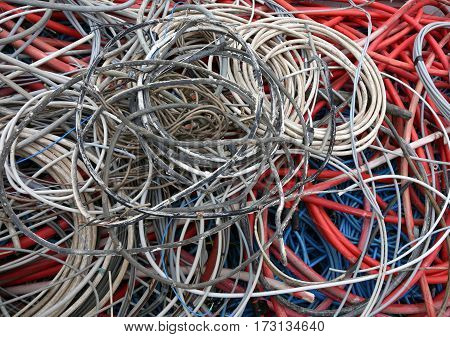 Electric Cables Of Many Colours For The Recycling Of Copper