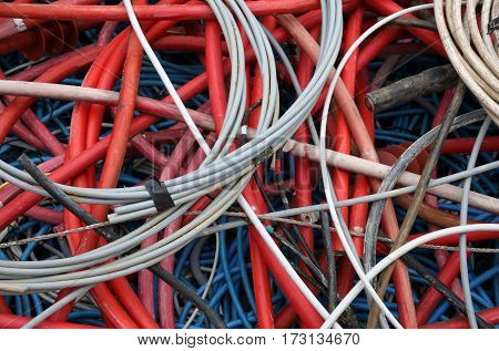 Deposit Of Old Electrical Wires Of Various Sizes And Colors Read