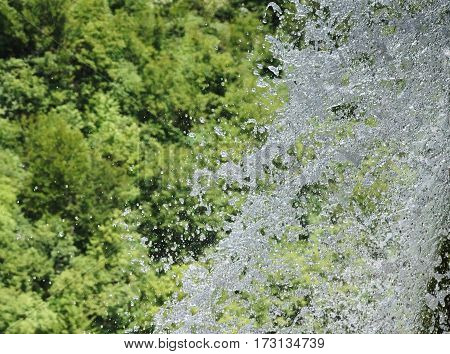 drops of water from a waterfall spreads in the air on a plan of a green forest