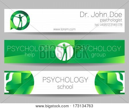 Vector Psychology Web banner design background or header Templates. Symbol and icon. Profile Human. Creative style. Brand company concept. Green color.
