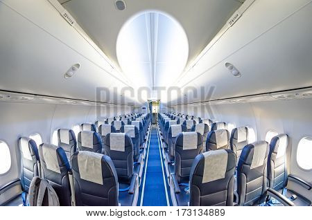 Seats in an airplane aisle light board