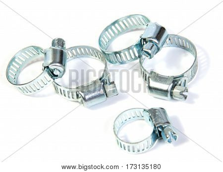 entire frame filled with gear clamps or hose clamps. Good plumbing or hardware theme
