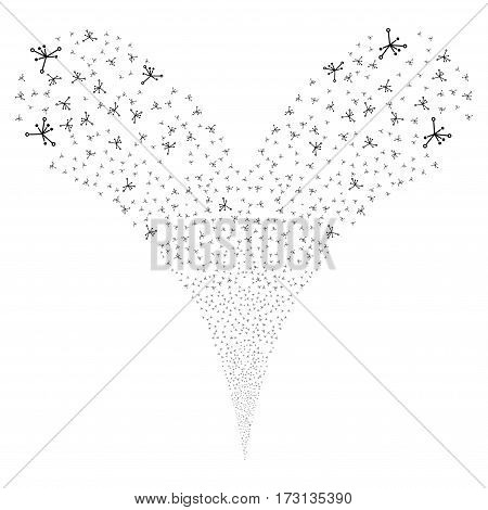 Big Bang fireworks stream. Vector illustration style is flat black iconic symbols on a white background. Object double fountain created from random symbols.