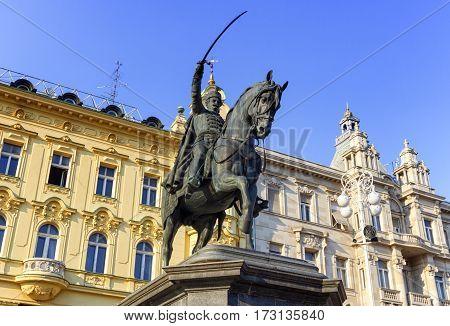 Statue in Ban Jelacic square by day, Zagreb, Croatia