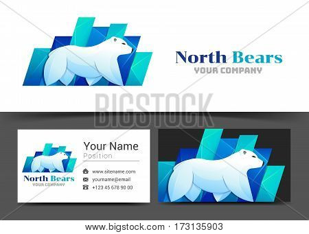 Polar Bear Arctic Corporate Logo and Business Card Sign Template. Creative Design with Colorful Logotype Visual Identity Composition Made of Multicolored Element. Vector Illustration.