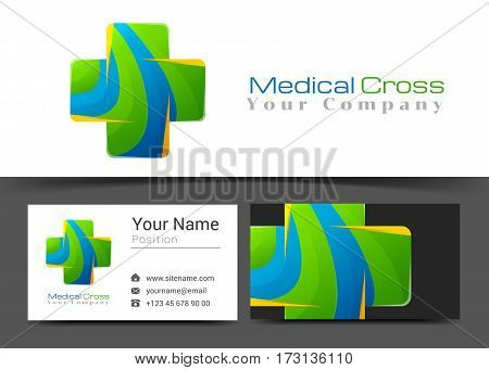 Cross Medical Corporate Logo and Business Card Sign Template. Creative Design with Colorful Logotype Visual Identity Composition Made of Multicolored Element. Vector Illustration.