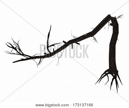 Dead broken tree trunk with big roots isolated in white background - 3D render