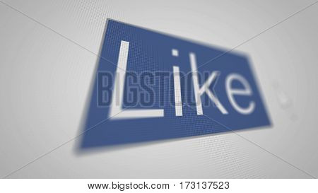 Like button in shallow depth field. 3d Illustration.