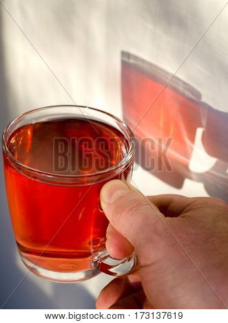 man's hand holding a glass mug of red tea reflection of the sunlight in red on a white wall