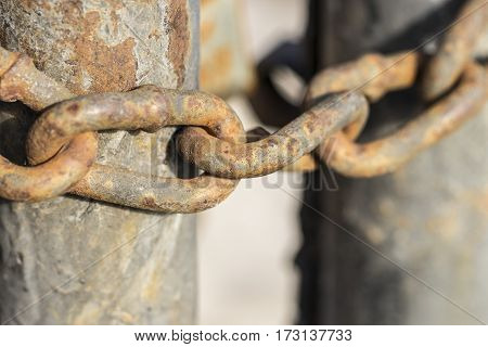 The old rusty chain link macro. texture