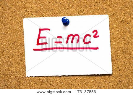 emc2 Mass energy equivalence.Einstein's formula. The mc2