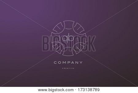 Qb Q B Monogram Floral Line Art Flower Letter Company Logo Icon Design