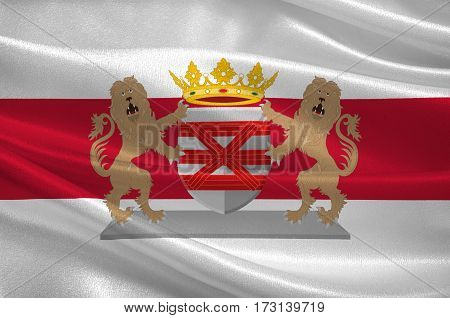 Flag of Enschede also known as Eanske in the local dialect of Twents is a municipality and a city in the eastern Netherlands in the province of Overijssel and in the Twente region. 3d illustration