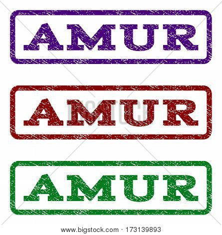 Amur watermark stamp. Text tag inside rounded rectangle with grunge design style. Vector variants are indigo blue red green ink colors. Rubber seal stamp with dust texture.