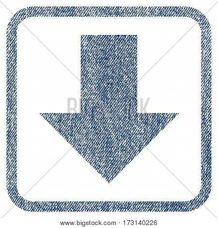Arrow Down vector textured icon for overlay watermark stamps. Blue jeans fabric vectorized texture. Symbol with dirty design inside rounded rectangular frame.