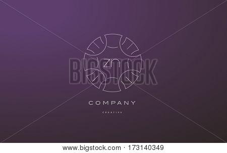 Zn Z N Monogram Floral Line Art Flower Letter Company Logo Icon Design