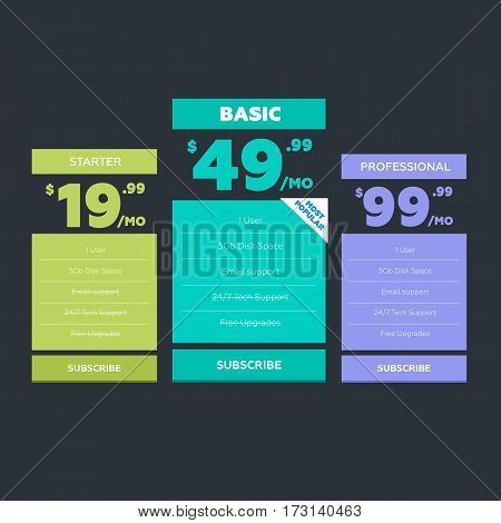 Vector illustration. Pricing table for websites and applications
