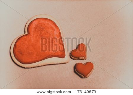 Cookies in the shape of a heart close up.