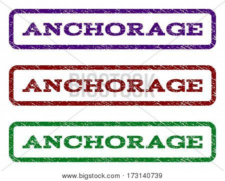 Anchorage watermark stamp. Text caption inside rounded rectangle frame with grunge design style. Vector variants are indigo blue red green ink colors. Rubber seal stamp with unclean texture.