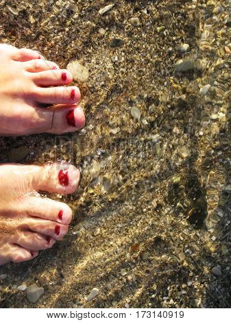 Feet in water on the pebble shore beach photo