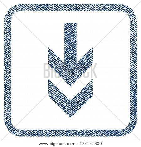 Arrow Down vector textured icon for overlay watermark stamps. Blue jeans fabric vectorized texture. Symbol with unclean design inside rounded rectangle.