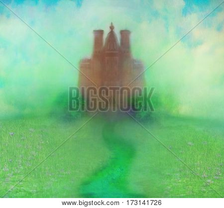 Ancient castle on abstract landscape , raster