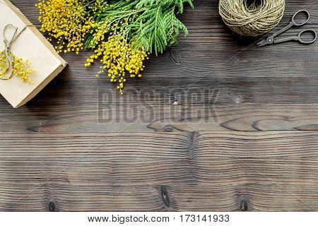 concept International Women Day with flowers on wooden background top view mock up