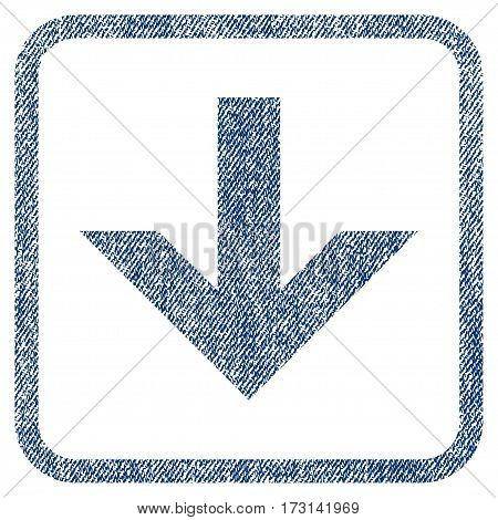 Arrow Down vector textured icon for overlay watermark stamps. Blue jeans fabric vectorized texture. Symbol with scratched design inside rounded rectangular frame.