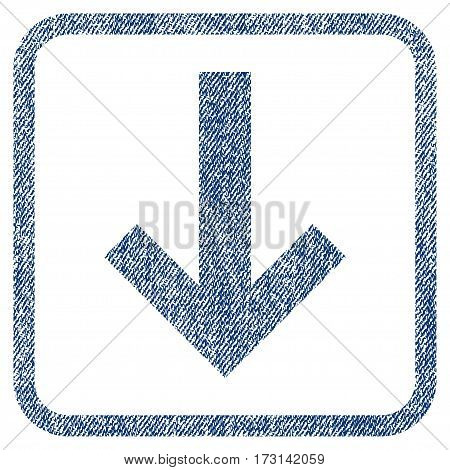 Arrow Down vector textured icon for overlay watermark stamps. Blue jeans fabric vectorized texture. Symbol with scratched design inside rounded rectangle.