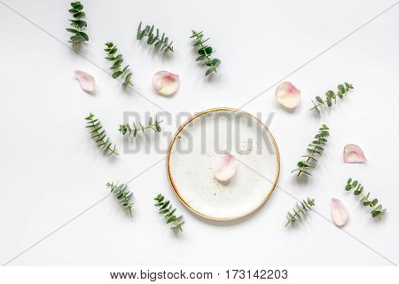 light woman breakfast trendy disign with flowers on white table background top view mock up