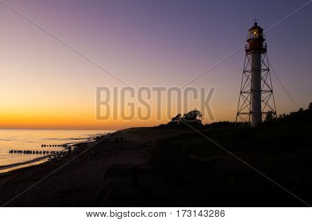 Silhouette of the Pape lighthouse, Latvia at sunset