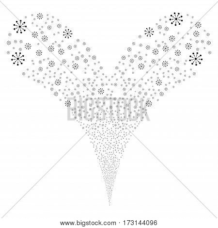 Expanse fireworks stream. Vector illustration style is flat black iconic symbols on a white background. Object double fountain constructed from random icons.