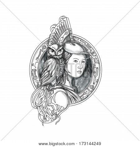 Tattoo style illustration of Athena or Athene the goddess of wisdom craft and war in ancient Greek religion and mythology with owl perched on shoulder set inside circle with electronic circuit board set on isolated white background.