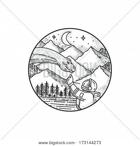 Tattoo style illustration of an astronaut pointing to a brontosaurus with mountain moon and stars in the background set inside circle.