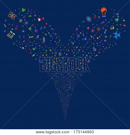 Chemistry Symbols fireworks stream. Vector illustration style is flat bright multicolored iconic symbols on a blue background. Object double fountain combined from random pictograms.