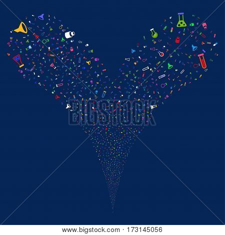 Chemistry Tubes fireworks stream. Vector illustration style is flat bright multicolored iconic symbols on a blue background. Object double fountain created from random pictograms.