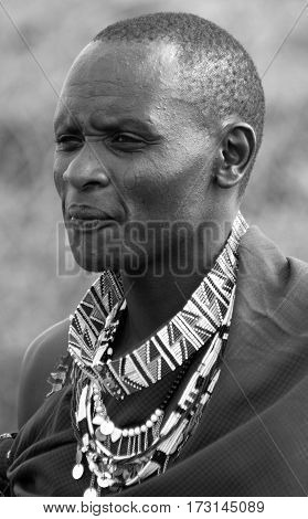 AMBOSELI, KENYA  10 13 11: Portrait of young Maasai man in Masai Mara, Kenya. Maasai (Masai) are a Nilotic ethnic group of semi-nomadic people located in Kenya and northern Tanzania