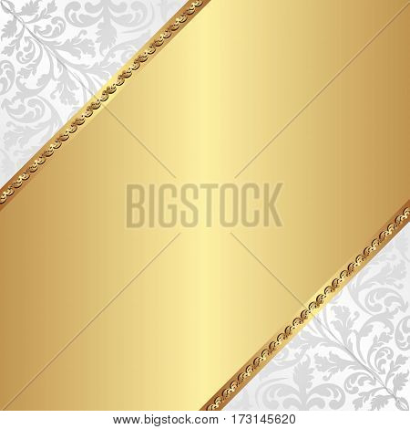 golden background with decorative pattern - vector illustration