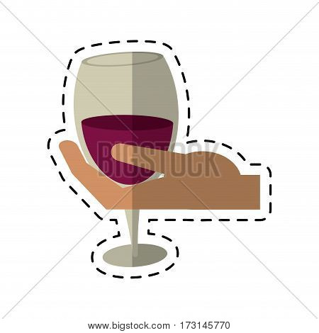 cartoon hand holding glass cup wine vector illustration eps 10