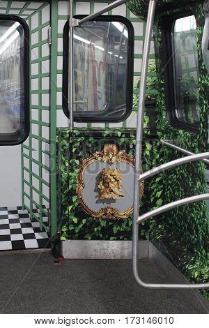 St. Petersburg Russia June 1 2016 Inside of Subway in St. Petersburg. Unusual interior subway trains