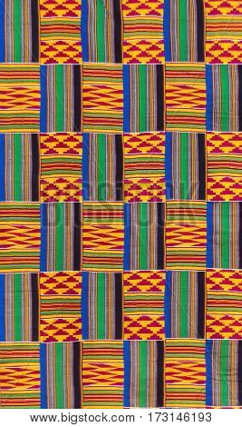 Kente cloth, the garment worn by Akans and Ashanti kingdom, texture