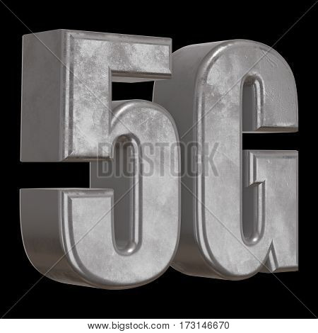 Metal 5G icon on black background. 3D render letters