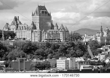 QUEBEC CITY CANADA 15 08 14: Chateau Frontenac is a grand hotel. It was designated a National Historic Site of Canada in 1980, generally recognized as the most photographed hotel in the world